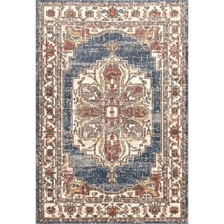 Porch & Den Topanga Faded Blossom Medallion Border Area Rug (Blue - 9 x 12)