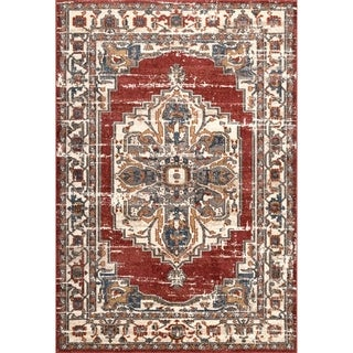 Porch & Den Topanga Faded Blossom Medallion Border Area Rug (Red - 9 x 12)