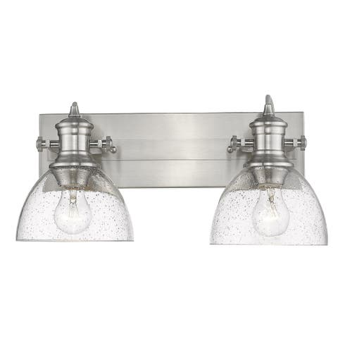 Carbon Loft Barton 2-light Bath Vanity in Pewter with Seeded Glass