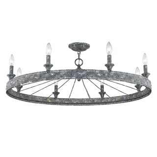 Golden Lighting Ferris Blue Verde Patina Steel 8-light Semi Flush Mount