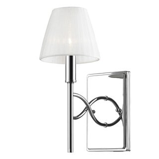 Taylor 1 Light Wall Sconce in Chrome with Pearl Chiffon Shade