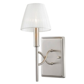 Taylor 1 Light Wall Sconce in Pewter with Pearl Chiffon Shade