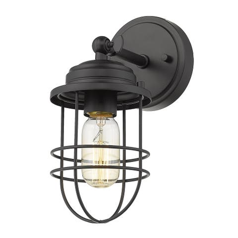 Seaport 1 Light Wall Sconce in Black