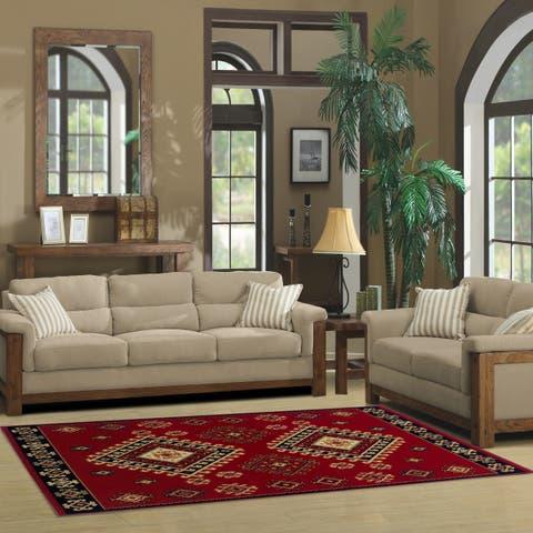 Miranda Haus Designer Santafe Red Area Rug - 6' x 9'
