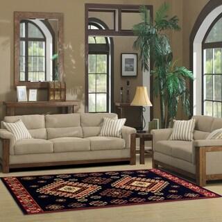 Superior Designer Santafe Black Area Rug - 6' x 9'