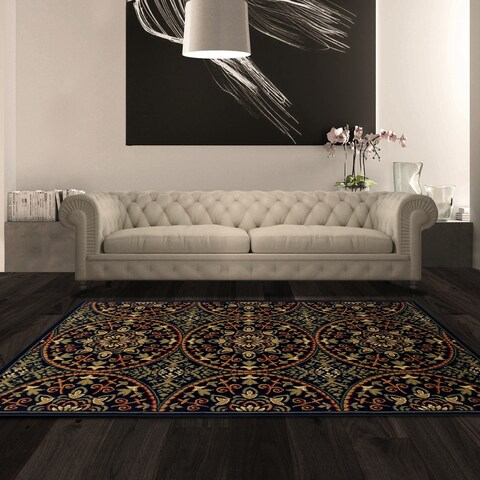 Superior Designer Fancy Medallion Black Area Rug - 6' x 9'