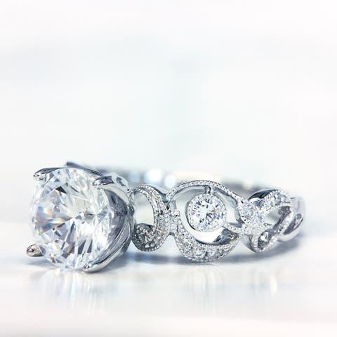 Lihara and Co. 18k White Gold 0.15cttw TDW White Diamond Semi-Mount Engagement Ring (G-H, VS1-VS2)