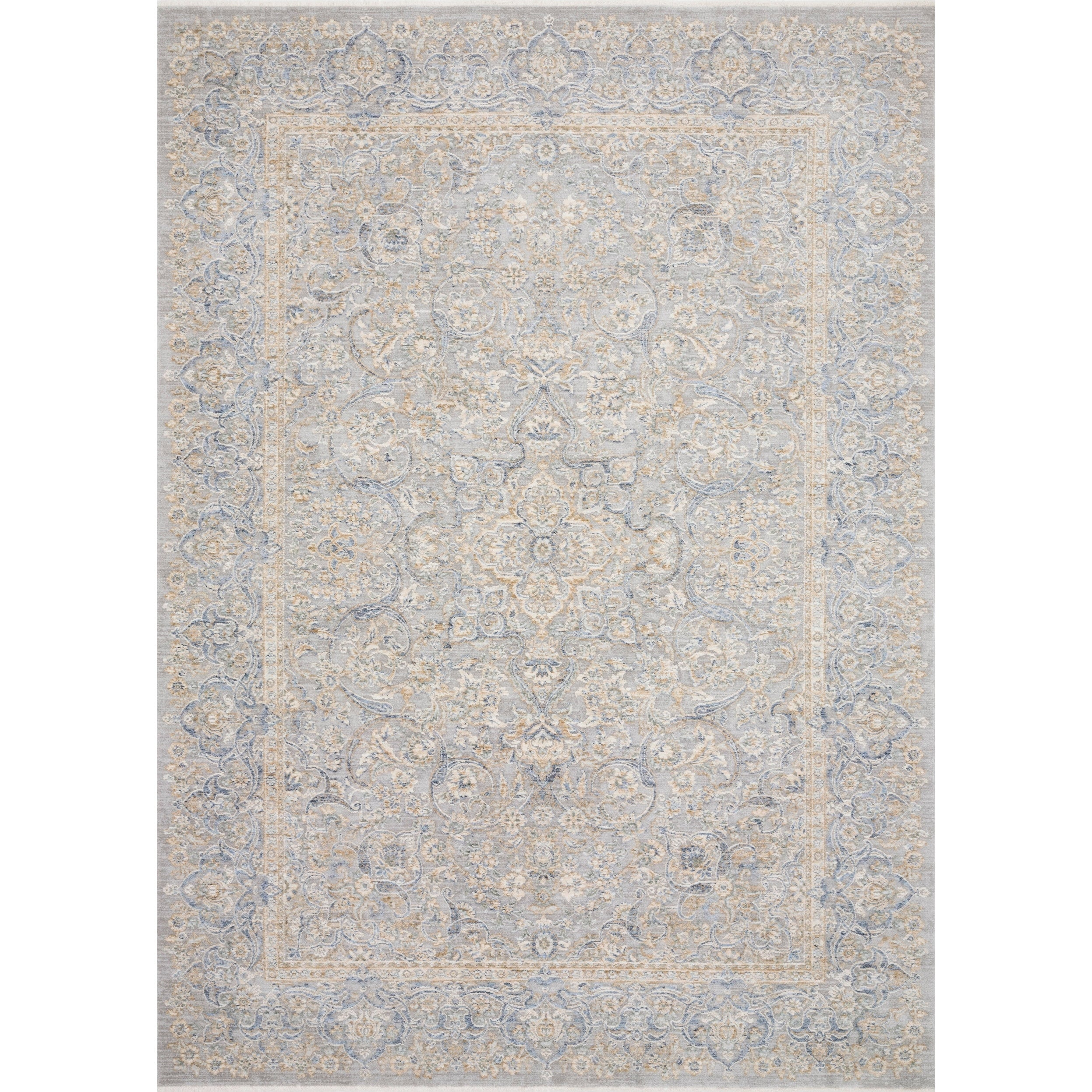 Classic Grey/ Gold Ornate Vintage Area Rug - 5 x 8 (Stone/Gold - 5 x 8)