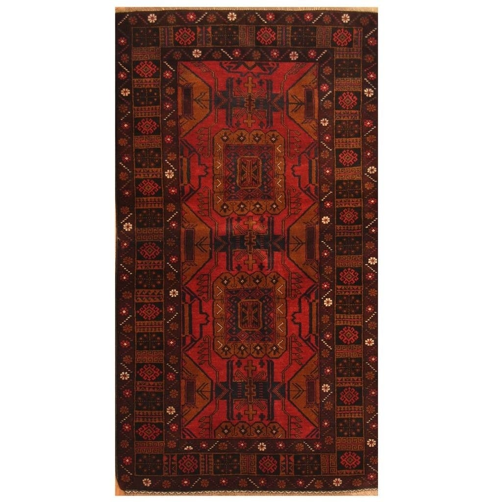 Handmade Herat Oriental Afghan Hand-knotted Tribal Balouchi Wool Rug (36 x 65) (Red)