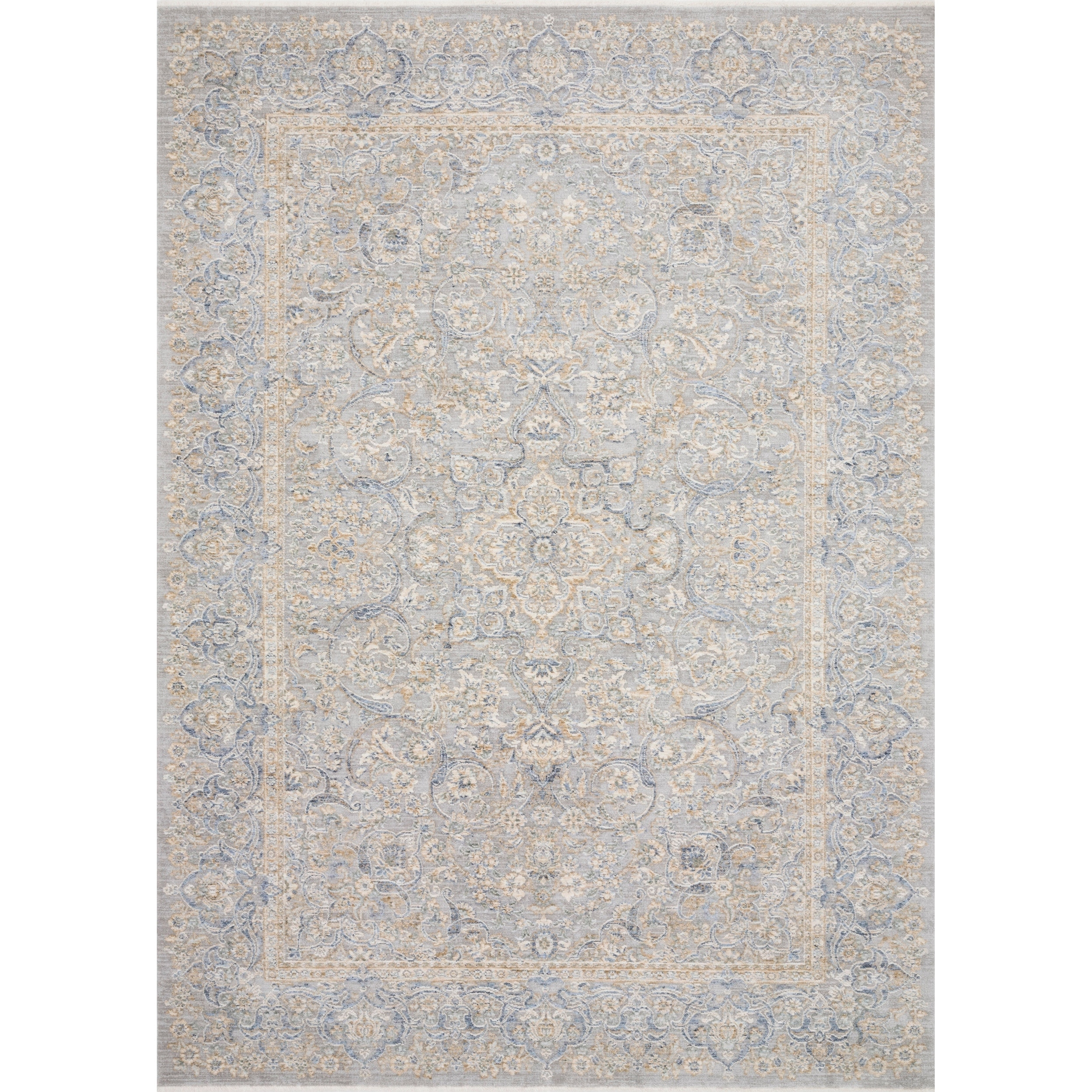 Classic Grey/ Gold Ornate Vintage Area Rug - 96 x 125 (Stone/Gold - 96 x 125)