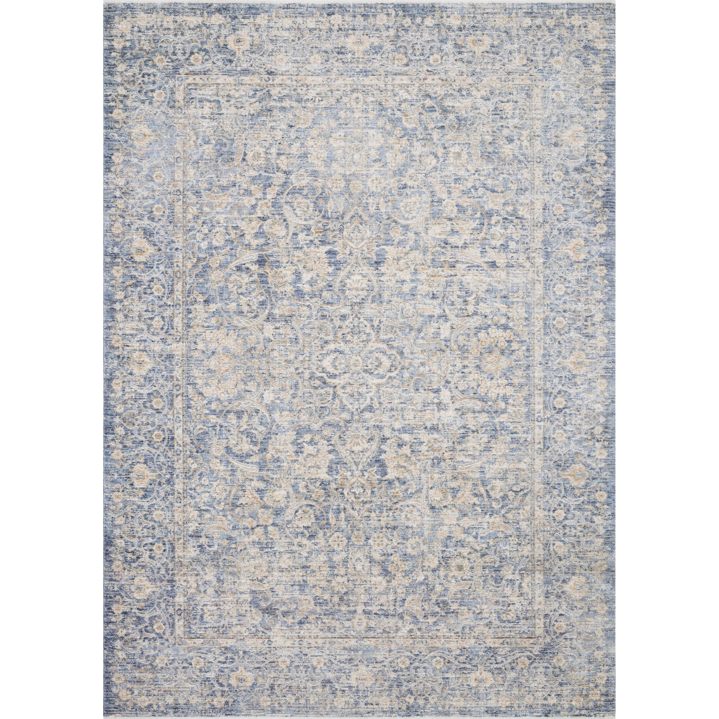 Classic Blue/ Gold Ornate Vintage Area Rug - 96 x 125 (Blue/Gold - 96 x 125)