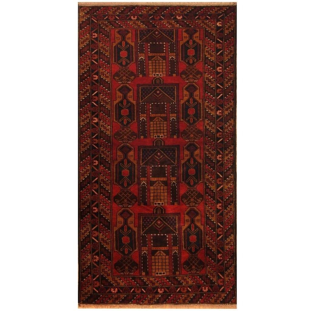 Handmade Herat Oriental Afghan Hand-knotted Tribal Balouchi Wool Rug (34 x 66) (Red)