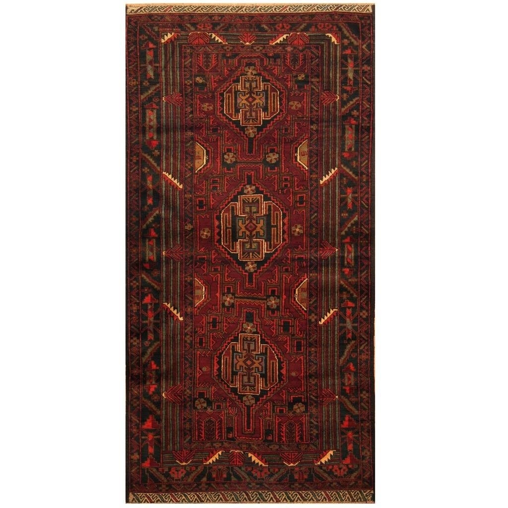 Handmade Herat Oriental Afghan Hand-knotted Tribal Balouchi Wool Rug (35 x 610) (Red)
