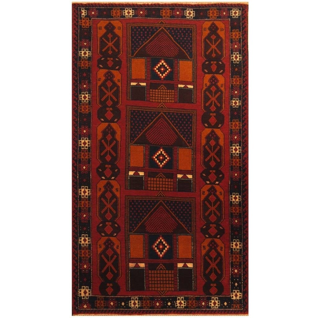 Handmade Herat Oriental Afghan Hand-knotted Tribal Balouchi Wool Rug (38 x 66) (Red)