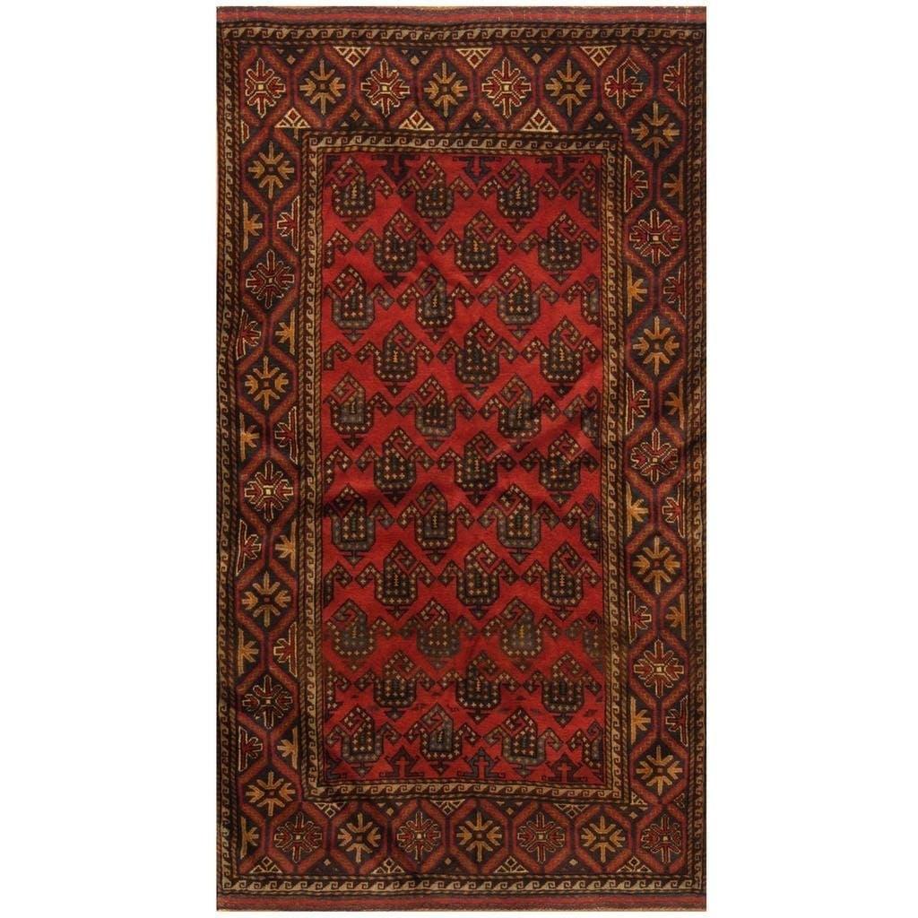Handmade Herat Oriental Afghan Hand-knotted Tribal Balouchi Wool Rug (36 x 64) (Red)