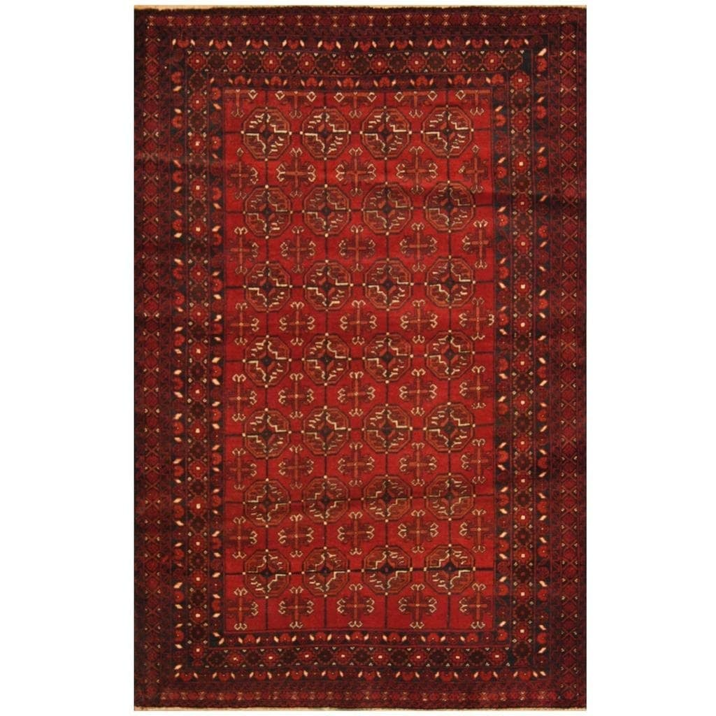 Handmade Herat Oriental Afghan Hand-knotted Tribal Balouchi Wool Rug (310 x 6) (Red)