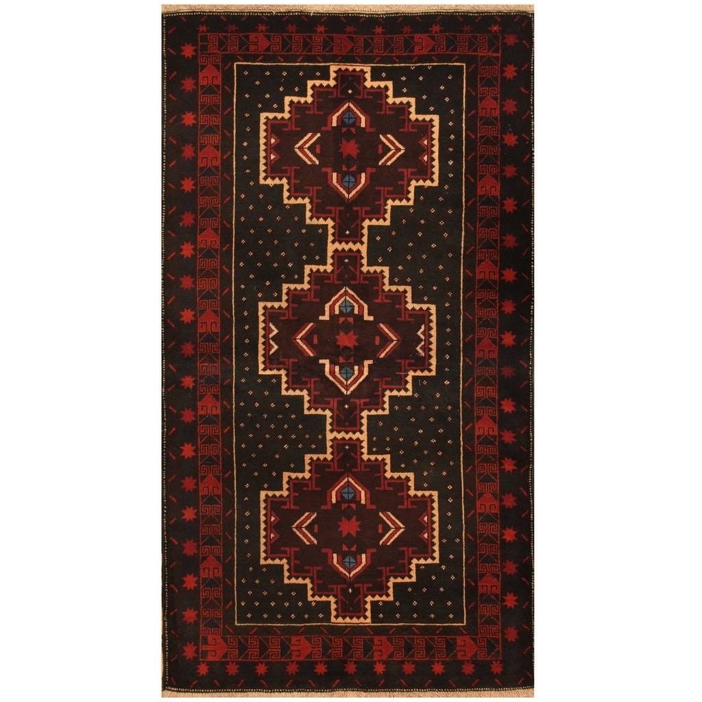 Handmade Herat Oriental Afghan Hand-knotted Tribal Balouchi Wool Rug (36 x 65) (Black)