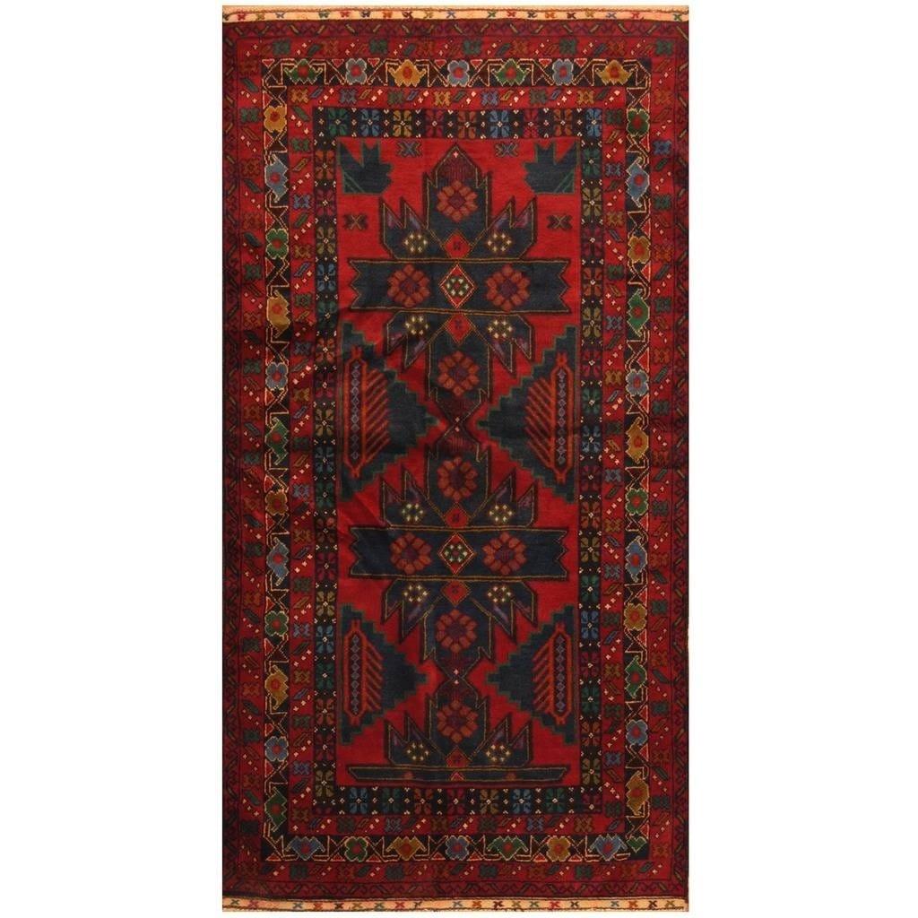Handmade Herat Oriental Afghan Hand-knotted Tribal Balouchi Wool Rug (36 x 610) (Red)