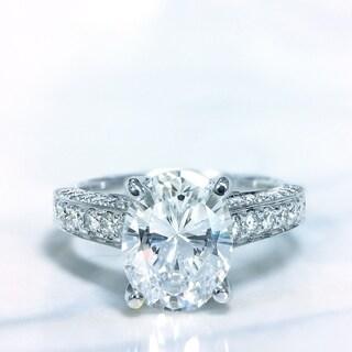 Lihara and Co. 18k White Gold 2/3 ct TDW White Diamond Semi-Mount Engagement Ring (G-H, VS1-VS2)