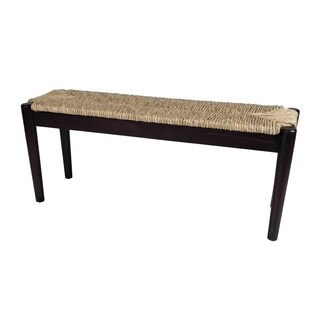 Indoor/ Outdoor Seagrass Bench - Black Finish Frame