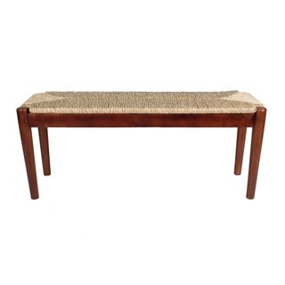 Indoor/ Outdoor Seagrass Bench - Dark Natural Wood Finish Frame