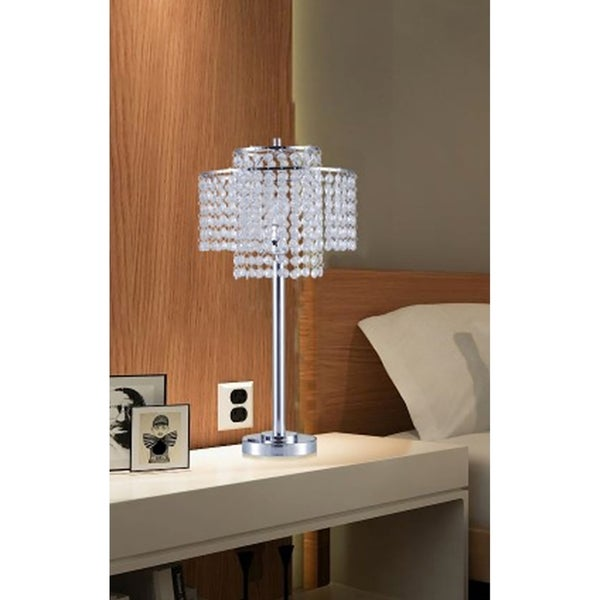 Shop 2 Tier Holly Glam Silver Metal Table Lamp With Usb