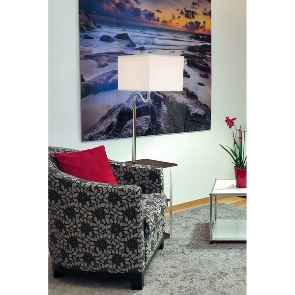 Dru Square Silver Floor Lamp Table with USB Charger