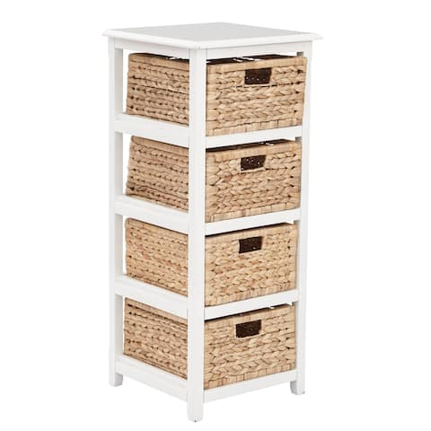 OSP Home Furnishings Seabrook Four-Tier Storage Unit With White Finish and Natural Baskets