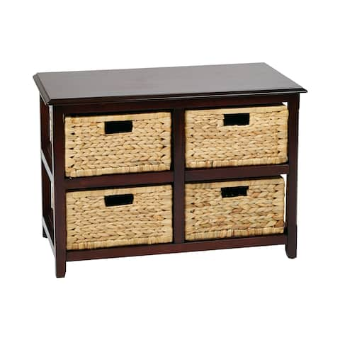 OSP Home Furnishings Seabrook Two-Tier Storage Unit and Natural Baskets