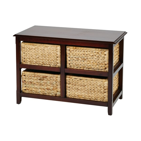 Espresso Finish OSP Designs Seabrook Two-Tier Storage Unit With Two Natural Baskets