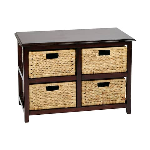 Seabrook Two-Tier Storage Unit and Natural Baskets