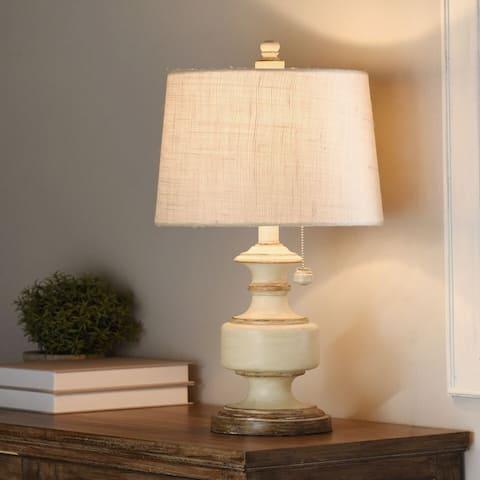 StyleCraft Gilda Distressed Cream Table Lamp - Textured White Shade