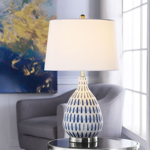 StyleCraft Marissa Off-White and Blue Table Lamp - Off White Shade