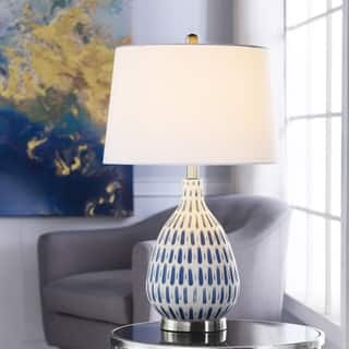 Marissa Off-White and Blue Table Lamp - Off White Shade