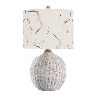 Link to StyleCraft White Rattan Natural With Wash Table Lamp - White and Seagull Print Shade Similar Items in Table Lamps