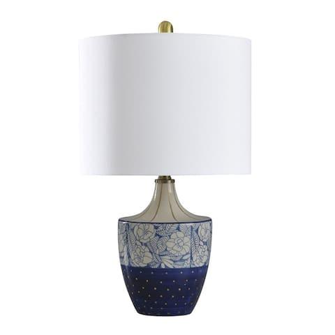 StyleCraft Shelly Cream, Blue and Gold Table Lamp - Geneva White Shade