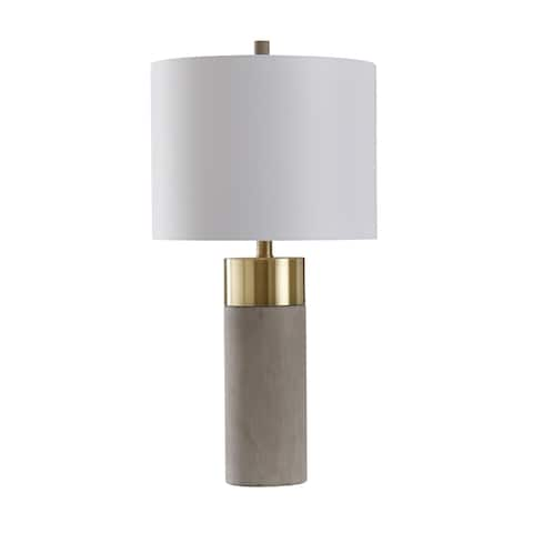 StyleCraft Concrete and Metal Soft Brass and Natural Concrete Table Lamp - Brussels White Shade
