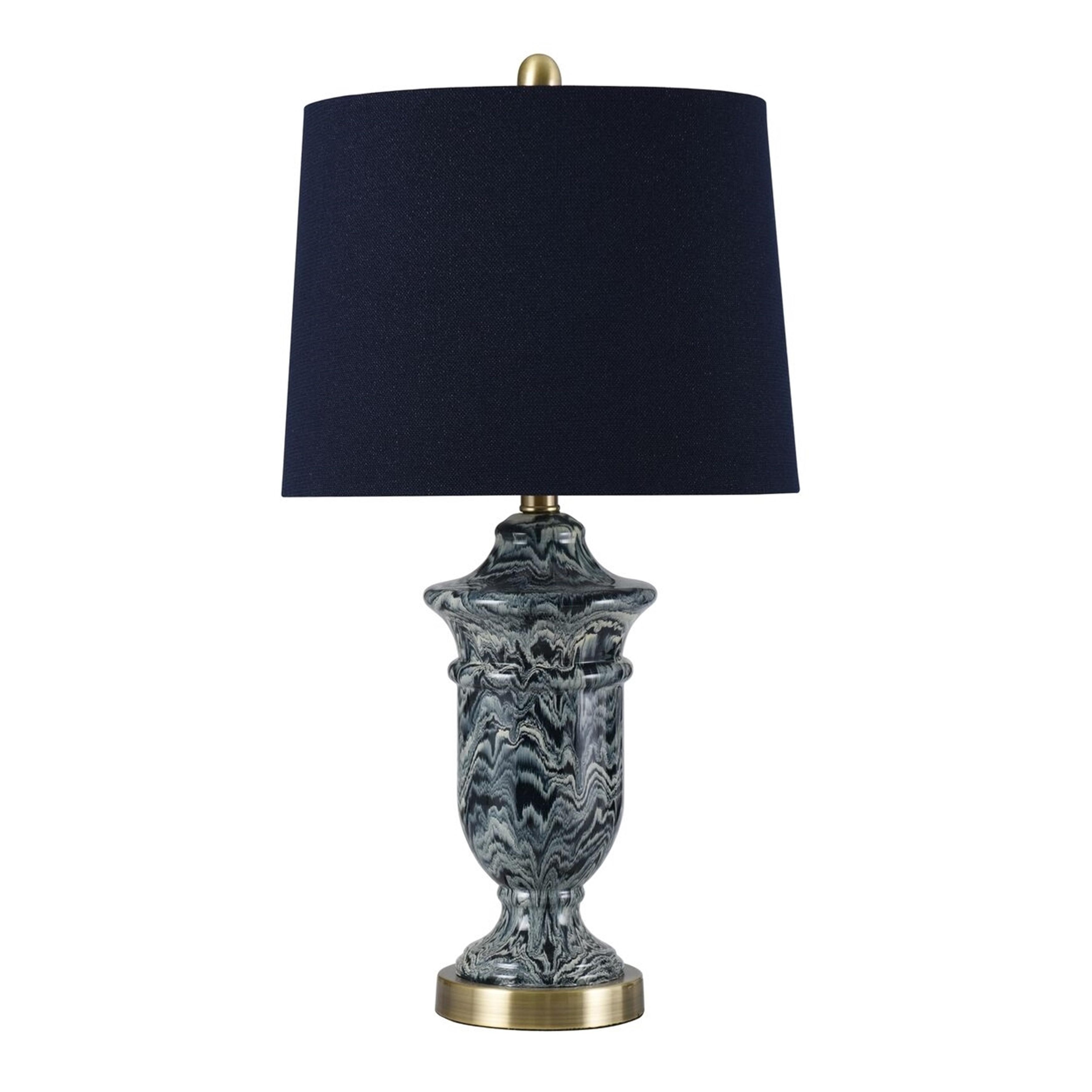 Kelley Navy Blue Blade Paint Drip Table Lamp Navy Blue Shade