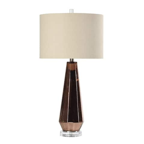 StyleCraft Angela Copper Metallic Table Lamp - White Shade