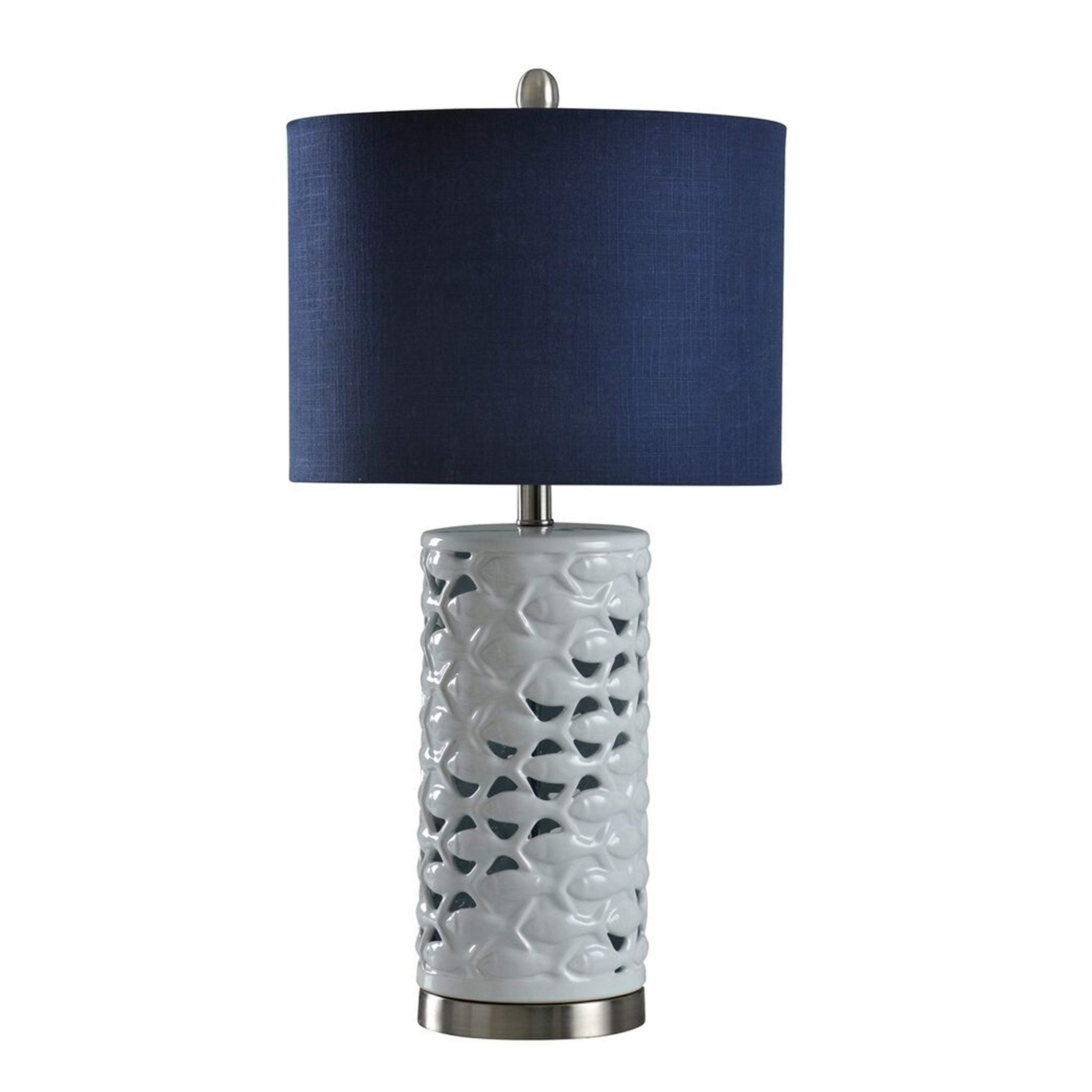 School Of Fish Cylindrical White Table Lamp Navy Blue Shade
