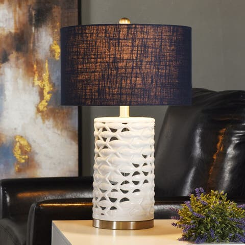 StyleCraft School of Fish Cylindrical White Table Lamp - Navy Blue Shade
