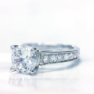 Lihara and Co. 18k White Gold 2/5 ct TDW White Diamond Semi-Mount Engagement Ring (G-H, VS1-VS2)
