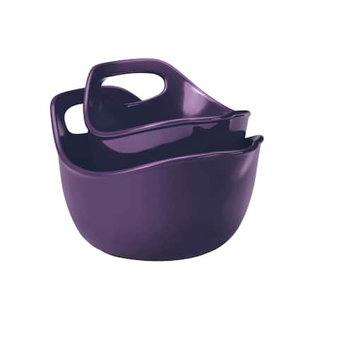 Rachael Ray Ceramics 2-Piece Mixing Bowls Set, Purple