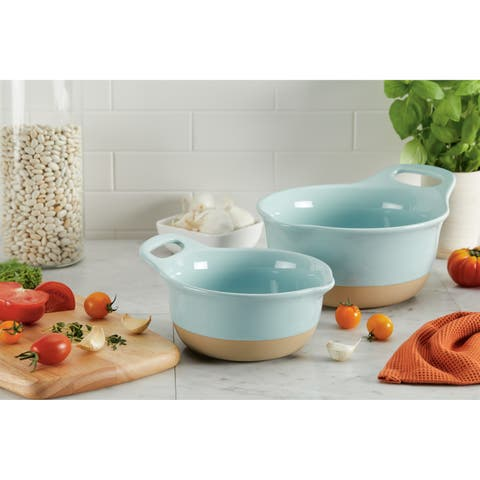 Rachael Ray Cityscapes Ceramic Mixing Bowl Set, Light Blue 2-Piece