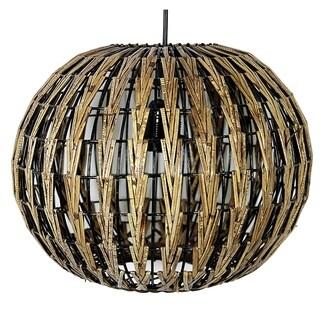 Essential Decor & Beyond Rattan 1-Light Globe Pendant EN111213 - 9.5 x 12 inches