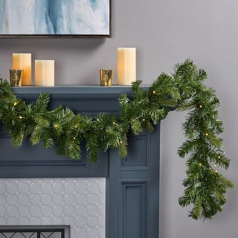 9-foot Mixed Spruce Pre-Lit Warm White LED Artificial Christmas Garland by Christopher Knight Home - led - clear