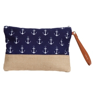 Makeup Bag, Canvas Toiletry Bag, Anchor Travel Bag with Burlap Contrast