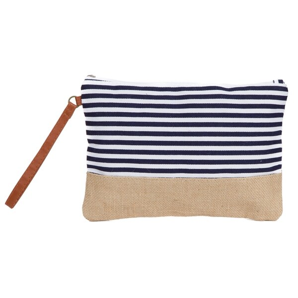 Makeup Bag Canvas Toiletry Stripe Travel With Burlap Contrast Free Shipping On Orders Over 45 23577390