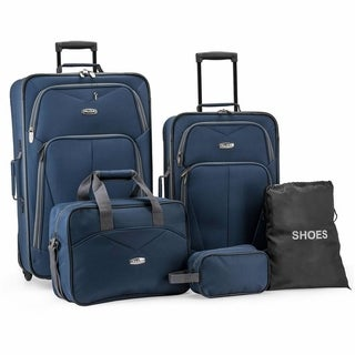 Link to Elite Luggage Whitfield 5-Piece Softside Lightweight Rolling Luggage Set Similar Items in Luggage Sets