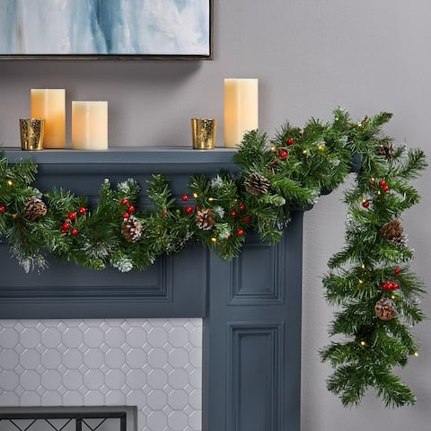 9-ft Mixed Spruce Clear LED Artificial Christmas Garland with Glitter Branches Red Berries& Pinecones by Christopher Knight Home